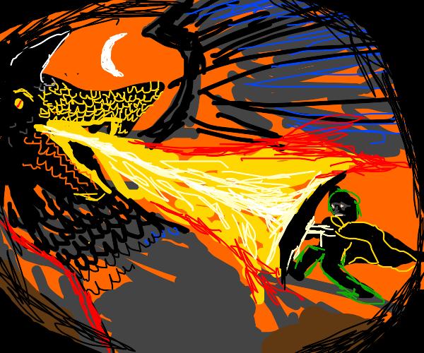 Epic Realistic Dragon Fight