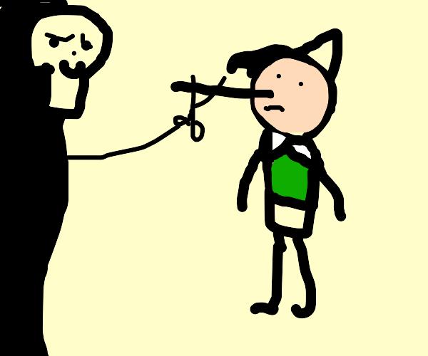 Grim Reaper cuts off Pinocchio's nose