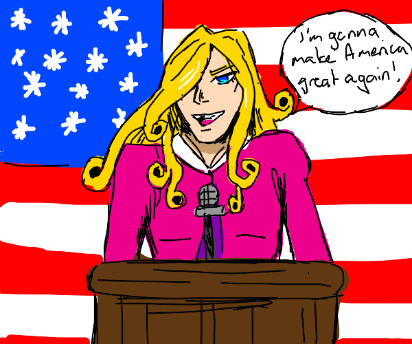 Funny Valentine (jojo) gives a speech