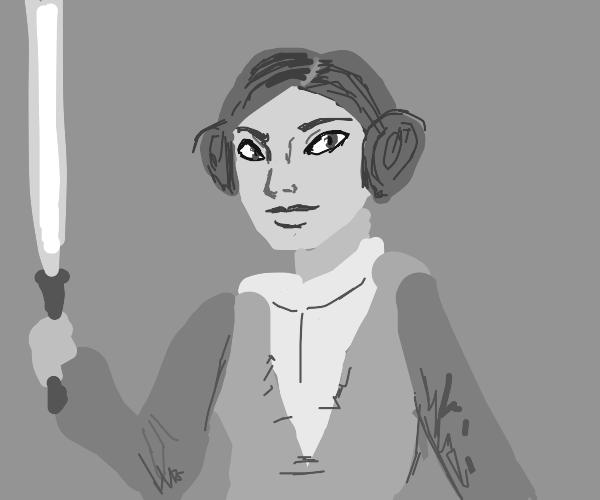 Princess Leia with a light saber