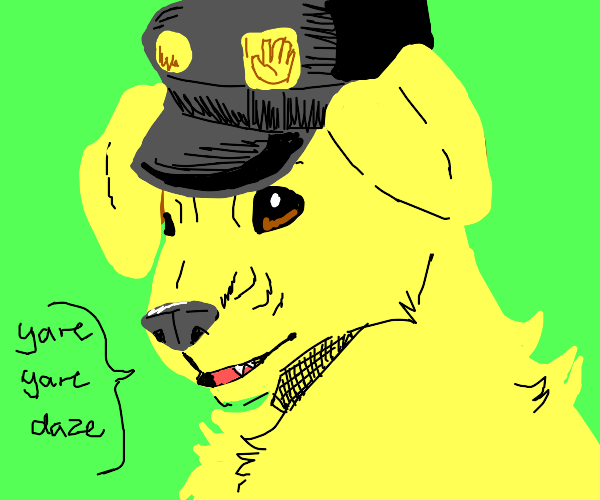 cute pup in black leather cap says yare daze