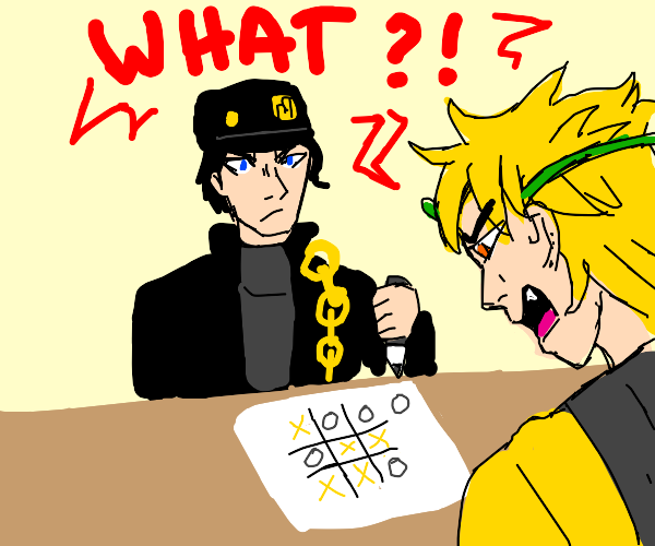 Jotaro beats Dio at Tic Tac Toe