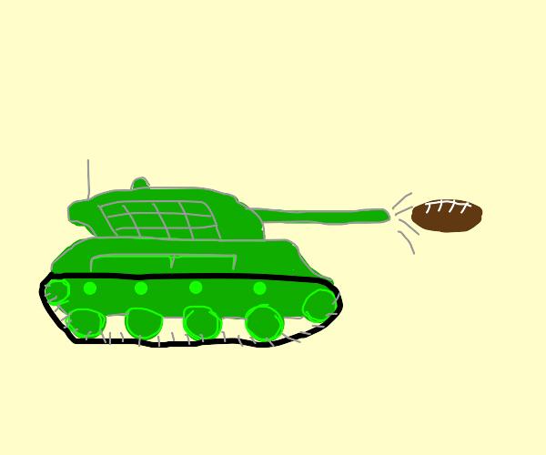 a tank but it shoots footballs
