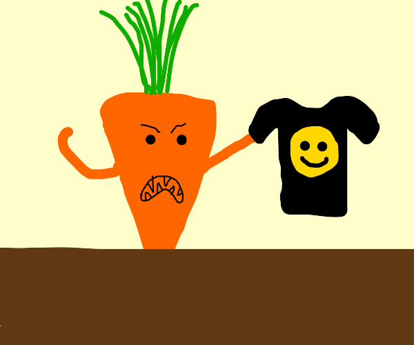 angry carrot holds smiley face shirt