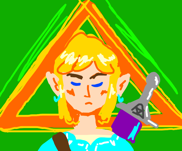 Link surrounded by the triforce
