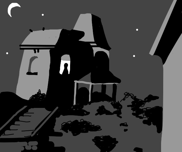 cinematic shot of spooky house at night