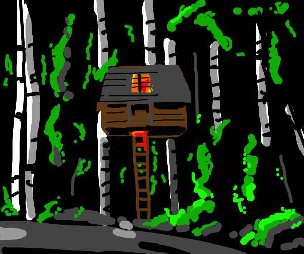 Treehouse with a lit window at night