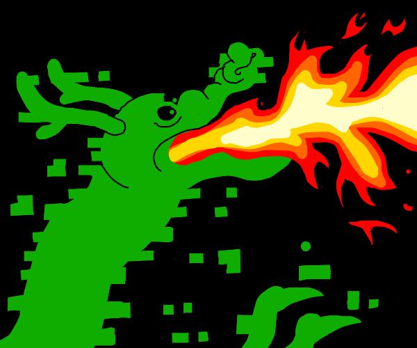 a digital dragon breathing fire