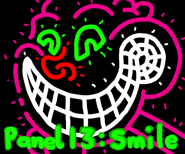 PANEL 12: HAPPY DISTORTED NEON COLORED FACE
