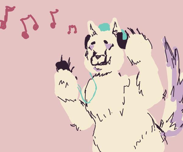 Wolf polar bear hybrid uses iPod