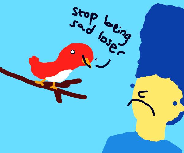 cardinal bird cheers up sad marge simpson