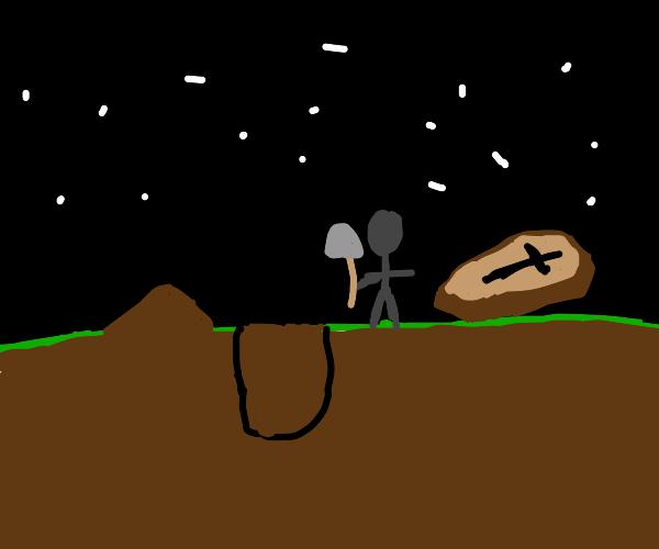 Man burying dead