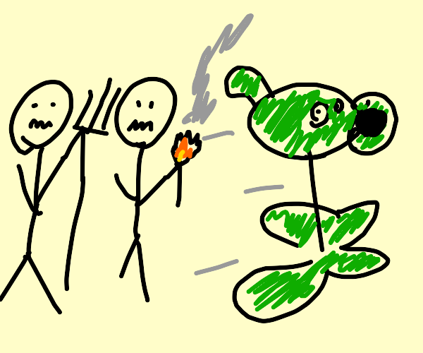 Pea shooter running from two bald men