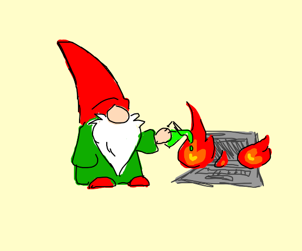Gnome pours green liguid on flaming computer