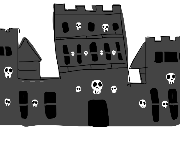 castle with a bunch of skulls
