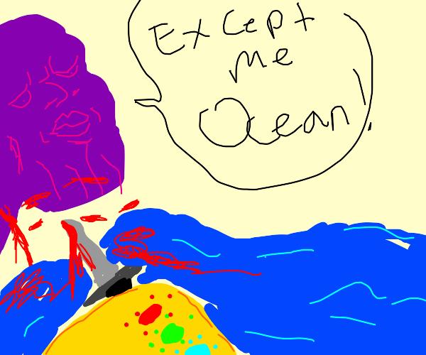 thanos bleeding in the ocean