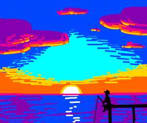 man fishing by a beautiful sunset