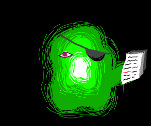 Green entity wearing eyepatch holding papers