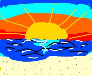 sunrise over an beach