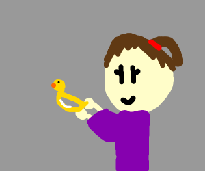 a girl holding the D duck