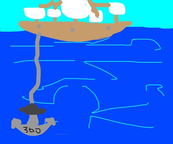 a 300lb anchor under the sea