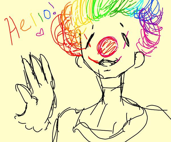 a clown says hello!