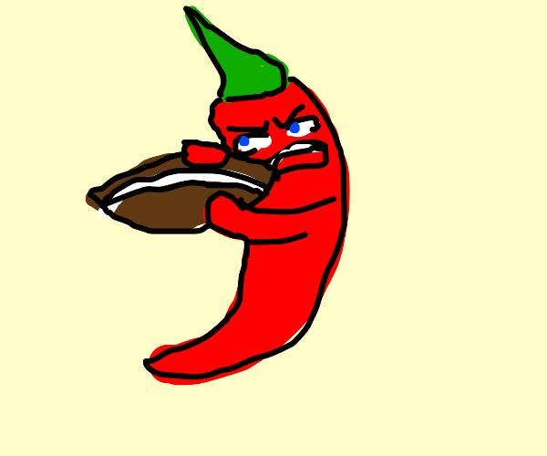 angry chili eats a football