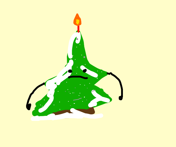 A sentient green, white, brown cake or tree