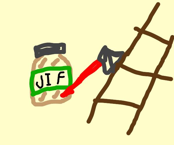 peanut butter axing a ladder