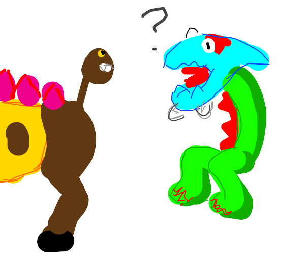 Dracovish confused by Girafarig tail