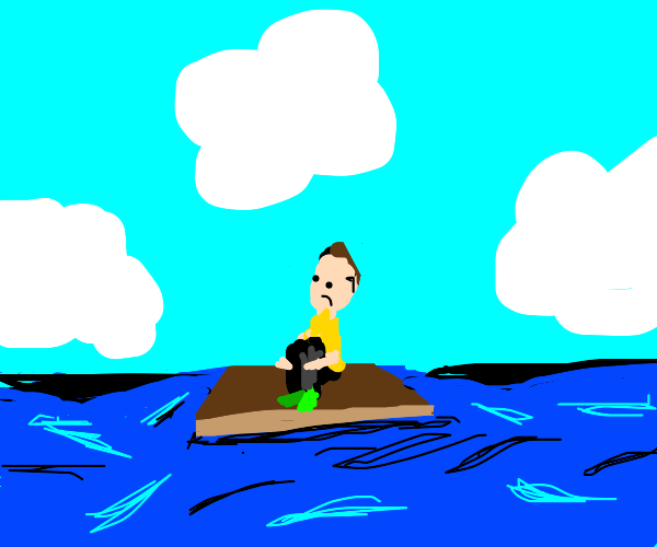 a man on a wooden plank on water