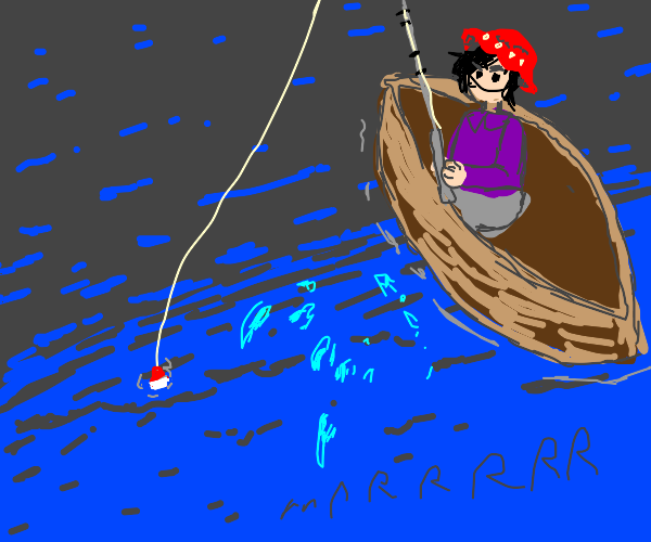 Catching a fish while wearing a red hat