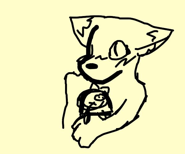 A blushing fox hugs a nervous doll