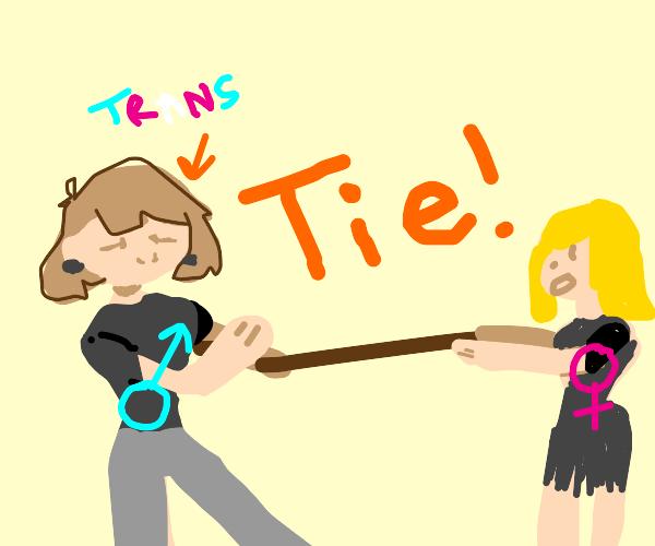 Trans man ties girl for tug of war