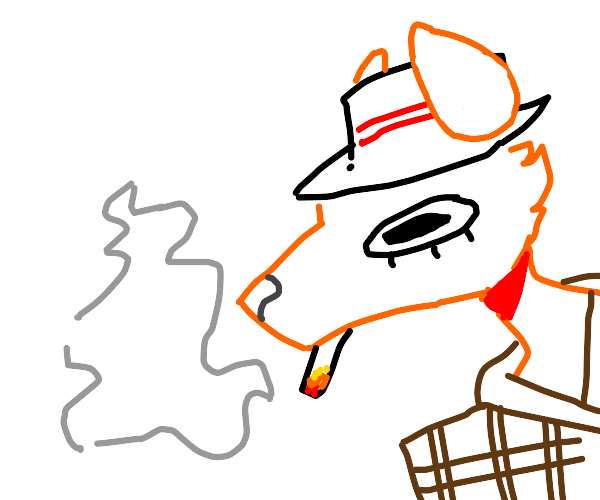 naughty fox in a hat smokes a cigarette