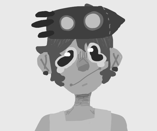 monochrome woman with rocket hat