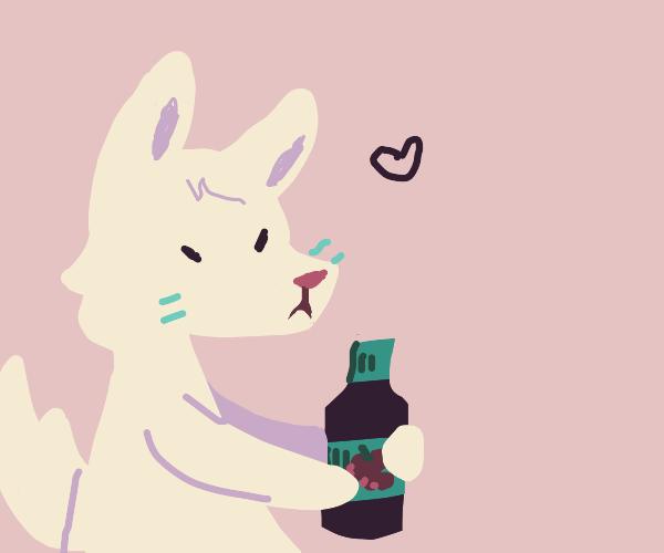 cat/fox cuddling a wine bottle
