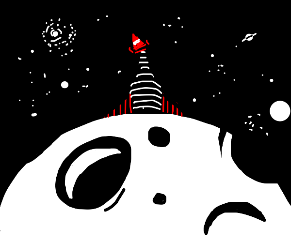 traffic cone on top of spaceship on the moon
