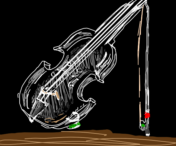 A detailed glass made violin and bow.