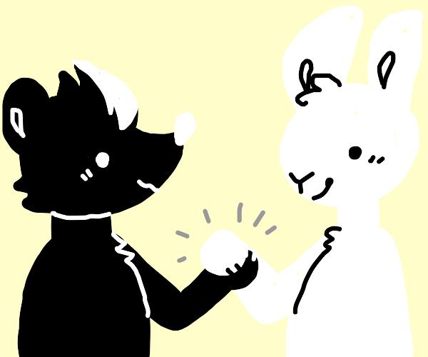 rabbit and skunk shake hands