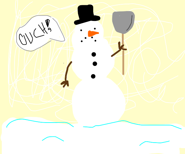 Snowman holding shovel says ouch