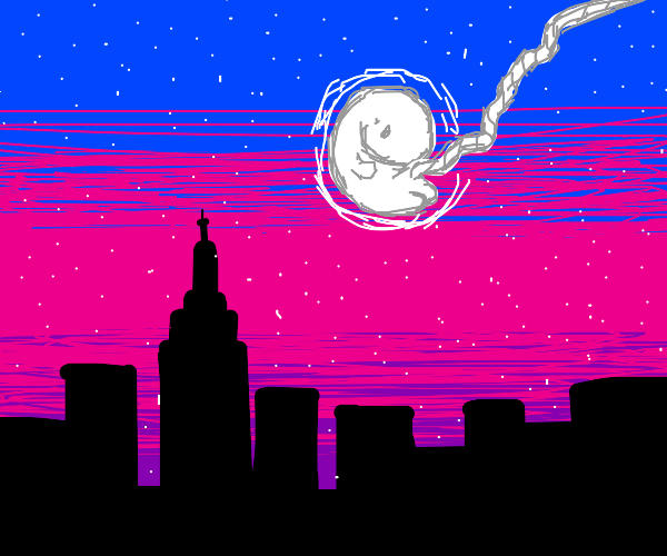 New York skyline except the moon is a fetus