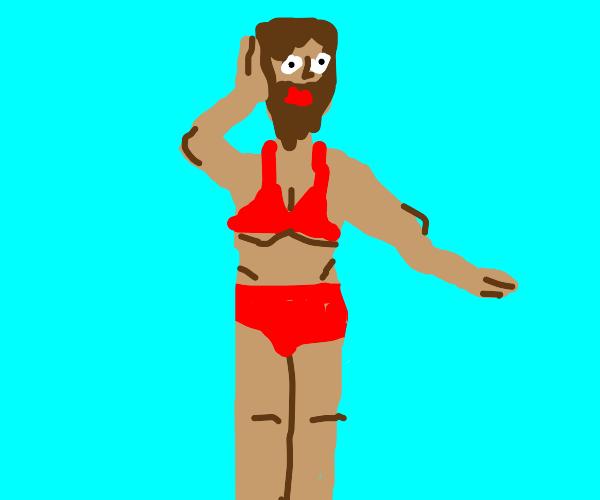 Man wearing bikini top