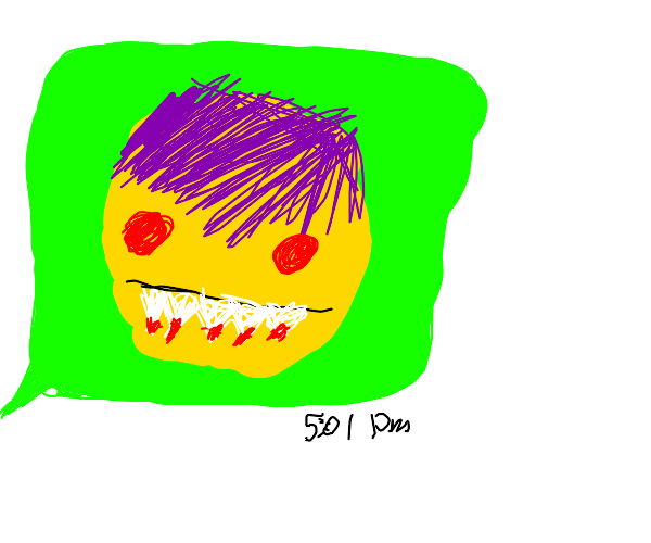 cursed pointy tooth emoji with purple hair