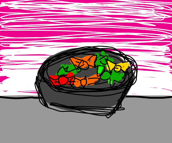 Bowl with candies and broccoli (you rascal!)