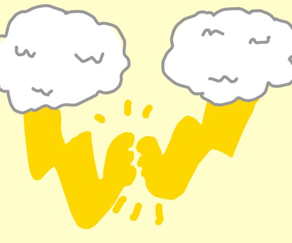 Lightning is just clouds arm wrestling