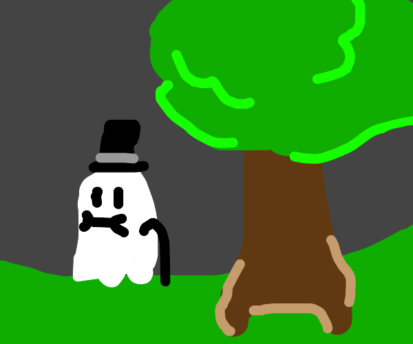 ghost next to tree