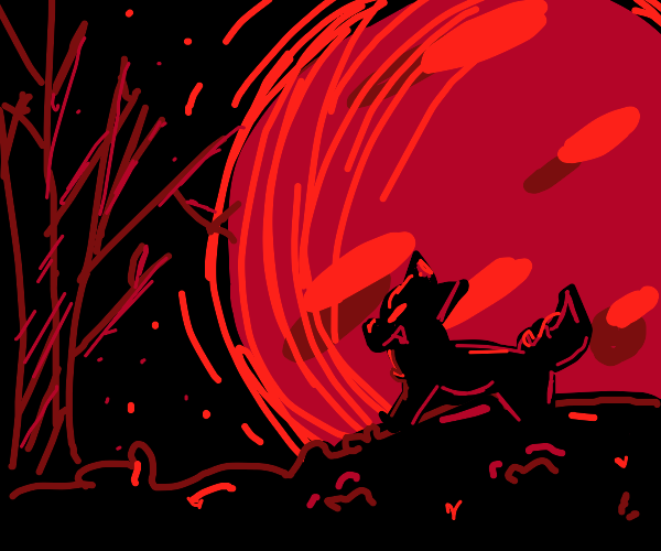 Wolf in front of a red moon