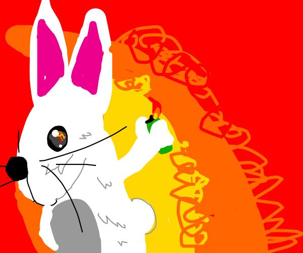 Smug rabbit arsonist holding lighter