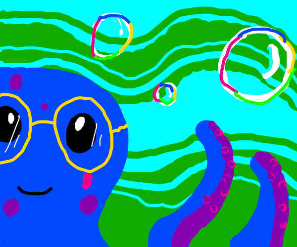 blue kawaii octopus with glasses